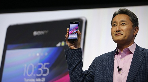 Sony Corp's President and Chief Executive Officer Hirai presents a new Sony Xperia Z1 smartphone during it's world premier at the IFA consumer electronics fair in Berlin