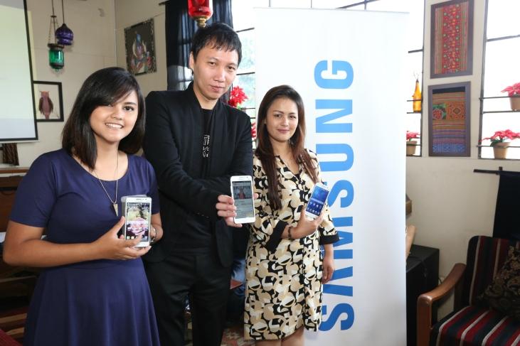 Sella Chalia, Yoris Sebastian dan Vebbyna Kaunang, dalam Media Gathering Samsung GALAXY Grand Prime.