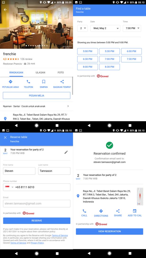 Google Maps - Reservasi dengan Google