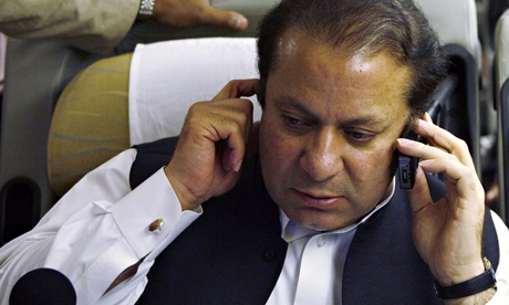 Nawaz Sharif on the phone