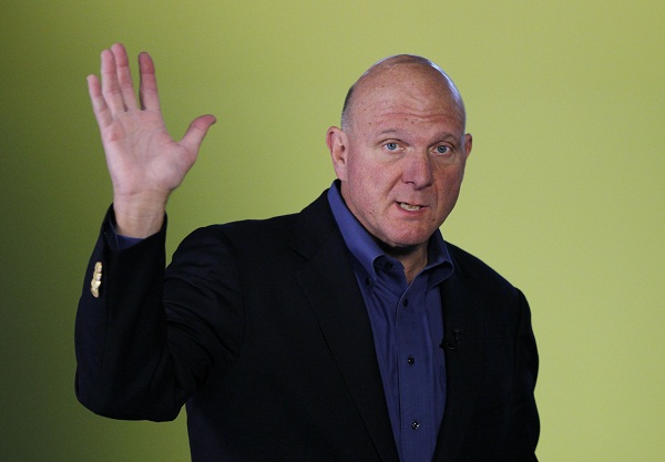 Microsoft CEO Steve Ballmer arrives for the launch of Windows 8 operating system in New York in this file photo