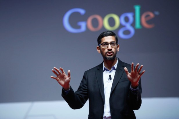 Sundar Pichai, senior vice president of Android, Chrome and Apps at Google Inc., speaks during a keynote session at the Mobile World Congress in Barcelona, Spain, on Monday, March 2, 2015. The event, which generates several hundred million euros in revenue for the city of Barcelona each year, also means the world for a week turns its attention back to Europe for the latest in technology, despite a lagging ecosystem. Photographer: Simon Dawson/Bloomberg *** Local Caption *** Sundar Pichai