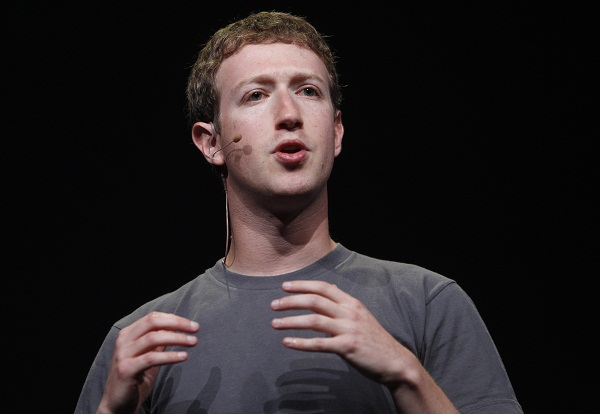 Facebook CEO Mark Zuckerberg gestures during his keynote address at the Facebook f8 Developers Conference in San Francisco