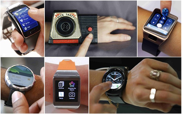 A 1960's era Dick Tracy wrist radio is modeled alongside contemporary smartwatches as seen in a combination of file photos