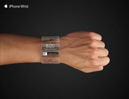 Foto smartwatch keluaran Apple yang beredar di internet. Foto ini dibuat oleh fans, bukan Apple.