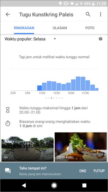 Google Maps - Waktu Tunggu Restoran