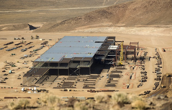 The Tesla Gigafactory is shown under construction outside Reno, Nevada